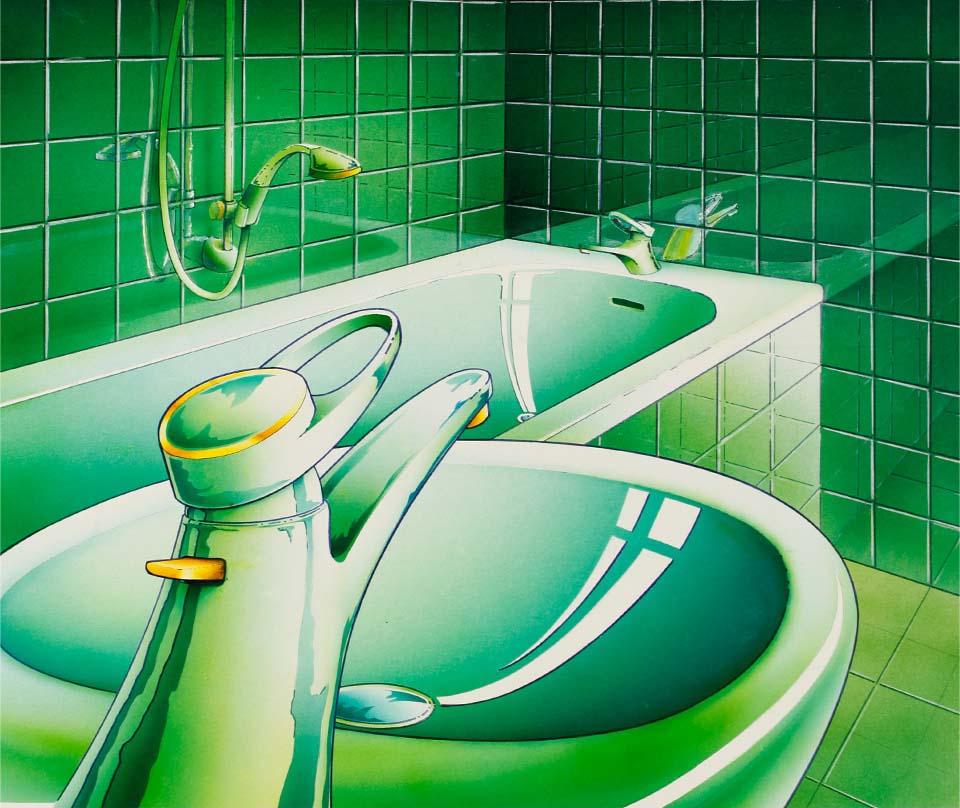braf bath green bathroom