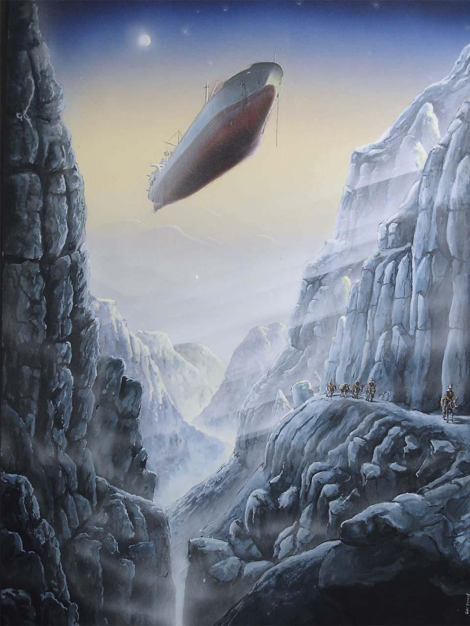 airship flying ship airboat illustration aerograph