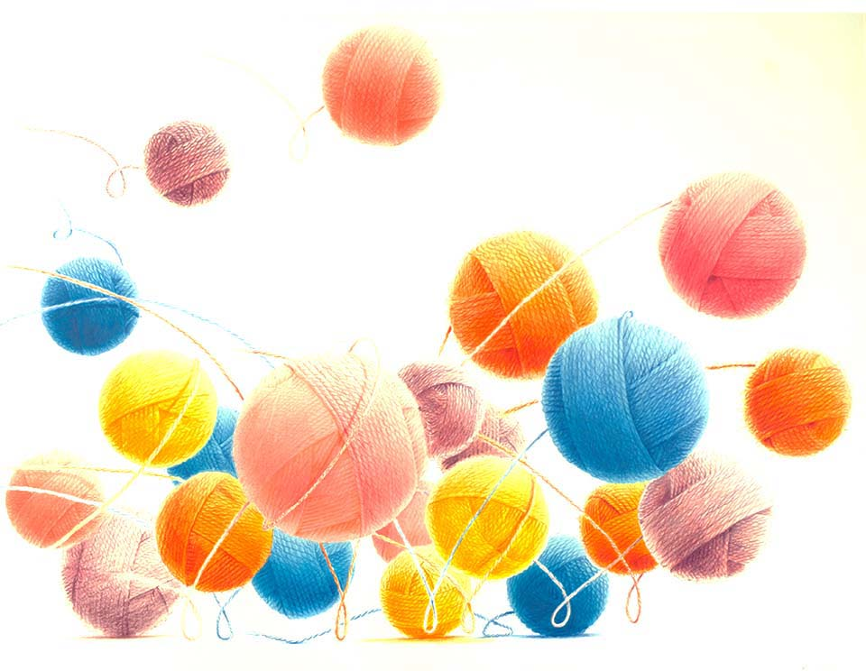 wool illustration wolen balls